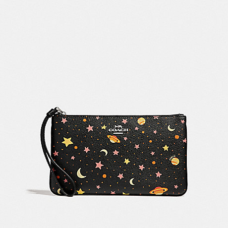 COACH LARGE WRISTLET WITH CONSTELLATION PRINT - BLACK/MULTI/SILVER - f30058