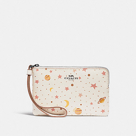 COACH CORNER ZIP WRISTLET WITH CONSTELLATION PRINT - Chalk Multi/BLACK ANTIQUE NICKEL - f30060