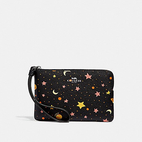 COACH CORNER ZIP WRISTLET WITH CONSTELLATION PRINT - BLACK/MULTI/SILVER - f30060