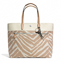 COACH RESORT ZEBRA PRINT LARGE TOTE - SILVER/NATURAL MULTI - F30062