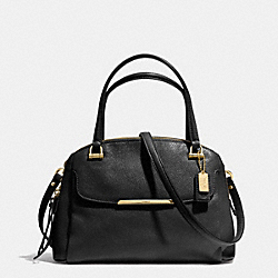 COACH MADISON LEATHER SMALL GEORGIE SATCHEL - LIGHT GOLD/BLACK - F30081
