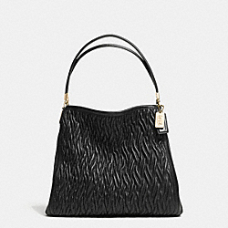 COACH MADISON GATHERED LEATHER SMALL PHOEBE SHOULDER BAG - LIGHT GOLD/BLACK - F30083