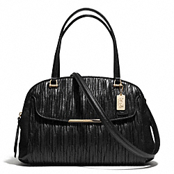 COACH MADISON GATHERED LEATHER GEORGIE SATCHEL - LIGHT GOLD/BLACK - F30084