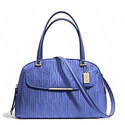 MADISON GATHERED LEATHER GEORGIE SATCHEL - f30084 - LIGHT GOLD/PORCELAIN BLUE