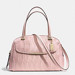 MADISON GATHERED LEATHER GEORGIE SATCHEL - f30084 - LIGHT GOLD/NEUTRAL PINK
