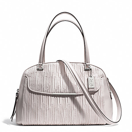 COACH f30084 MADISON GATHERED LEATHER GEORGIE SATCHEL SILVER/PARCHMENT