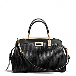 MADISON GATHERED LEATHER ANDIE SATCHEL - f30085 - LIGHT GOLD/BLACK