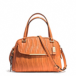 COACH MADISON GATHERED LEATHER SMALL GEORGIE SATCHEL - LIGHT GOLD/BRIGHT MANDARIN - F30086