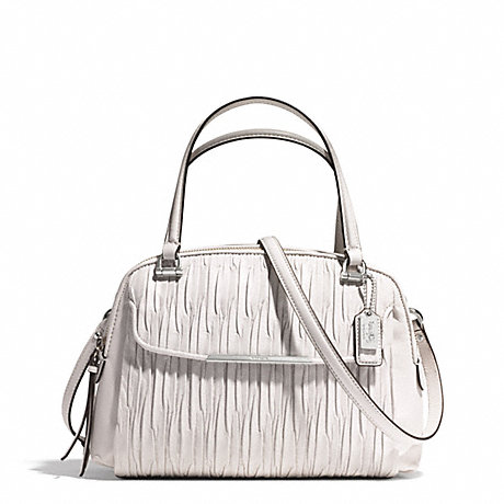 COACH f30086 MADISON LEATHER SMALL GEORGIE SATCHEL SILVER/PARCHMENT