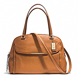 COACH MADISON EMBOSSED LEATHER GEORGIE SATCHEL - LIGHT GOLD/BURNT CAMEL - F30092