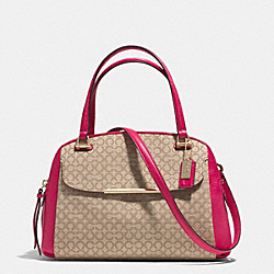 MADISON  OP ART NEEDLEPOINT FABRIC SMALL GEORGIE SATCHEL - f30093 - LIGHT GOLD/KHAKI/PINK RUBY