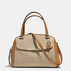 MADISON  OP ART NEEDLEPOINT FABRIC SMALL GEORGIE SATCHEL - f30093 - LIGHT GOLD/KHAKI/BURNT CAMEL