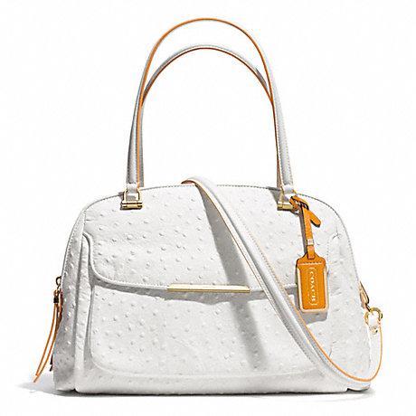 COACH f30113 MADISON OSTRICH EMBOSSED EDGEPAINT LEATHER GEORGIE SATCHEL LIGHT GOLD/WHITE/ORANGE