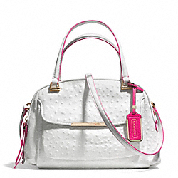 MADISON OSTRICH EMBOSSED EDGEPAINT LEATHER SMALL GEORGIE SATCHEL - f30116 - LICNV