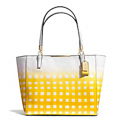 COACH MADISON GINGHAM SAFFIANO EAST/WEST TOTE - LIGHT GOLD/WHITE/SUNGLOW - F30118