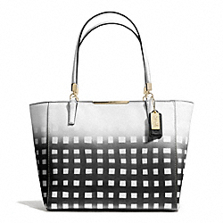 COACH MADISON GINGHAM SAFFIANO EAST/WEST TOTE - LIGHT GOLD/WHITE/BLACK - F30118