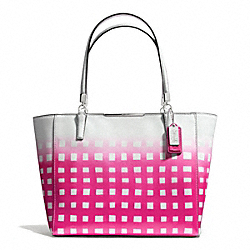 COACH MADISON GINGHAM SAFFIANO LEATHER EAST/WEST TOTE - LIGHT GOLD/WHITE/PINK RUBY - F30118