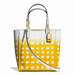 COACH MADISON GINGHAM SAFFIANO LEATHER MINI NORTH/SOUTH TOTE - LIGHT GOLD/WHITE/SUNGLOW - F30136