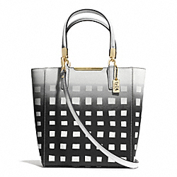 COACH MADISON GINGHAM SAFFIANO LEATHER MINI NORTH/SOUTH TOTE - LIGHT GOLD/WHITE/BLACK - F30136