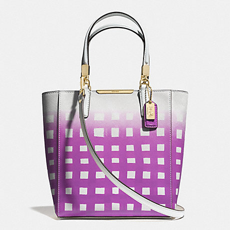 COACH MADISON MINI NORTH/SOUTH TOTE IN GINGHAM SAFFIANO LEATHER -  LICL0 - f30136