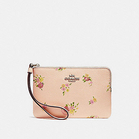 COACH CORNER ZIP WRISTLET WITH DAISY BUNDLE PRINT - LIGHT PINK MULTI/SILVER - f30140