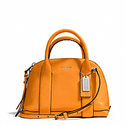 BLEECKER PEBBLED LEATHER MINI PRESTON SATCHEL - f30143 - SILVER/BRIGHT MANDARIN