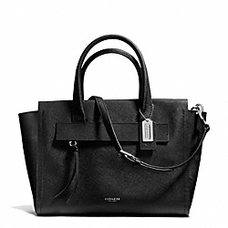 COACH BLEECKER SAFFIANO LEATHER RILEY CARRYALL - SILVER/BLACK - F30149