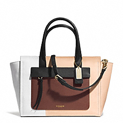 COACH BLEECKER COLORBLOCK LEATHER RILEY CARRYALL - GD/CHESTNUT - F30150
