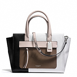 COACH BLEECKER COLORBLOCK LEATHER RILEY CARRYALL - SILVER/BLACK GREY MULTICOLOR - F30150
