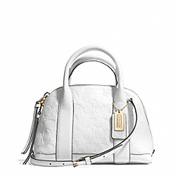 COACH BLEECKER SIGNATURE EMBOSSED MINI PRESTON SATCHEL - GOLD/WHITE - F30152