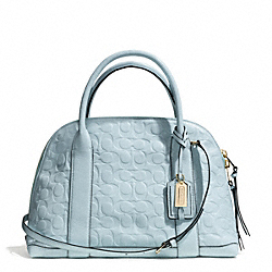 COACH BLEECKER SIGNATURE EMBOSSED PRESTON SATCHEL - GOLD/SEA MIST - F30153