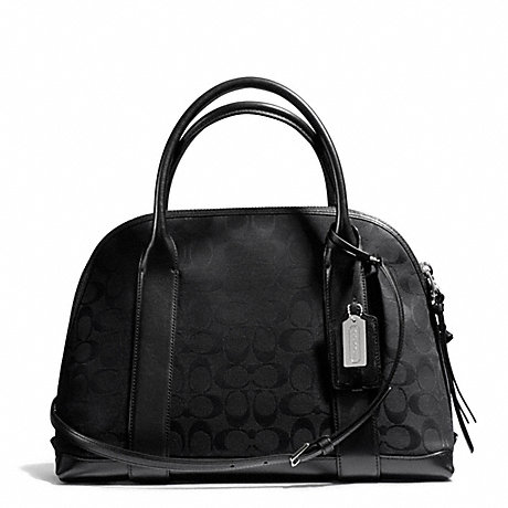 COACH f30158 BLEECKER SIGNATURE PRESTON SATCHEL SILVER/BLACK/BLACK
