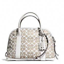 BLEECKER PRINTED SIGNATURE PRESTON SATCHEL - f30160 - SILVER/IVORY NEW KHAKI/WHITE