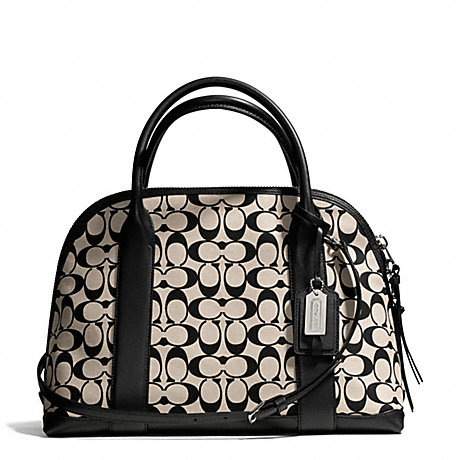 COACH BLEECKER PRINTED SIGNATURE PRESTON SATCHEL - SILVER/LIGHT GOLDGHT KHAKI BLACK - f30160