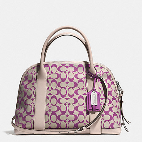 COACH f30160 BLEECKER PRINTED SIGNATURE PRESTON SATCHEL  SILVER/LT KHA MULBERRY/ECRU