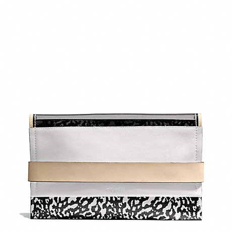 COACH BLEECKER MIXED MEDIA CLUTCH - SILVER/SMOKE - f30162