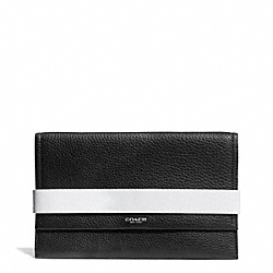 COACH BLEECKER EDGEPAINT LEATHER CLUTCH - SILVER/BLACK/WHITE - F30164