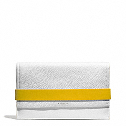 COACH BLEECKER EDGEPAINT LEATHER CLUTCH - SILVER/WHITE/SUNGLOW - F30164