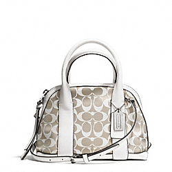 COACH BLEECKER PRINTED SIGNATURE MINI PRESTON SATCHEL - SILVER/IVORY NEW KHAKI/WHITE - F30167
