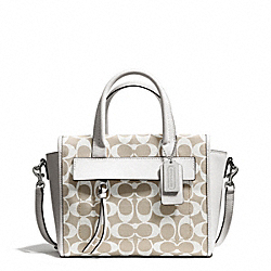 COACH BLEECKER PRINTED SIGNATURE MINI RILEY CARRYALL - SILVER/IVORY NEW KHAKI/WHITE - F30168