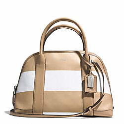 COACH BLEECKER STRIPED COATED CANVAS PRESTON SATCHEL - SILVER/TAN WHITE - F30171