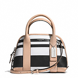 COACH BLEECKER STRIPED COATED CANVAS MINI PRESTON SATCHEL - SILVER/BLACK/WHITE - F30172