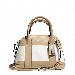 COACH BLEECKER STRIPED COATED CANVAS MINI PRESTON SATCHEL - SILVER/TAN WHITE - F30172