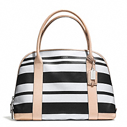 COACH BLEECKER STRIPED COATED CANVAS LARGE PRESTON SATCHEL - SILVER/BLACK/WHITE - F30173