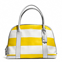COACH BLEECKER STRIPED COATED CANVAS LARGE PRESTON SATCHEL - SILVER/SUNGLOW WHITE - F30173
