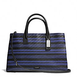 COACH BLEECKER EMBOSSED WOVEN STUDIO TOTE - SILVER/BLUE INDIGO/BLACK - F30181
