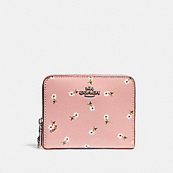 SMALL ZIP AROUND WALLET WITH DITSY DAISY PRINT - VINTAGE PINK MULTI /SILVER - COACH F30184