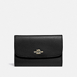 COACH MEDIUM ENVELOPE WALLET - BLACK/light gold - F30204