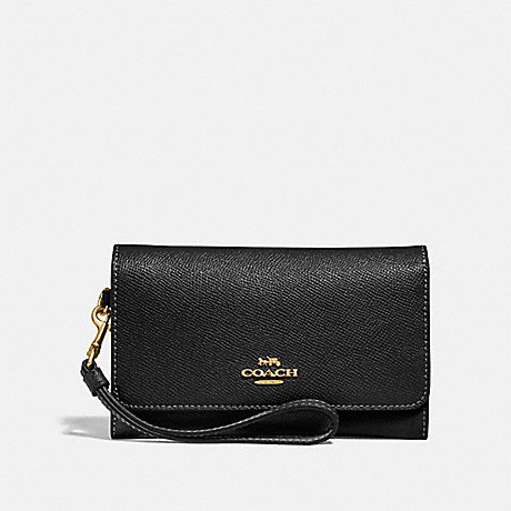 COACH FLAP PHONE WALLET - BLACK/LIGHT GOLD - F30205