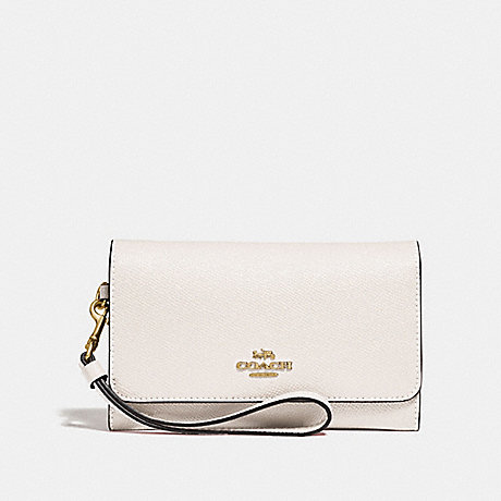 COACH FLAP PHONE WALLET - CHALK/GOLD - F30205